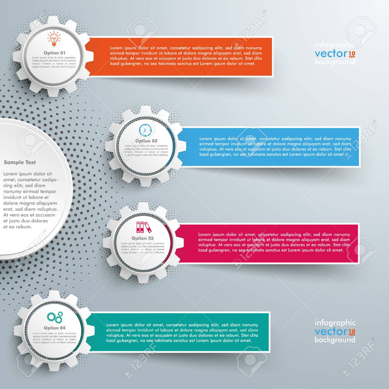 Infographic design with gears and banners on the grey background. Eps 10 vector file. - 53969792