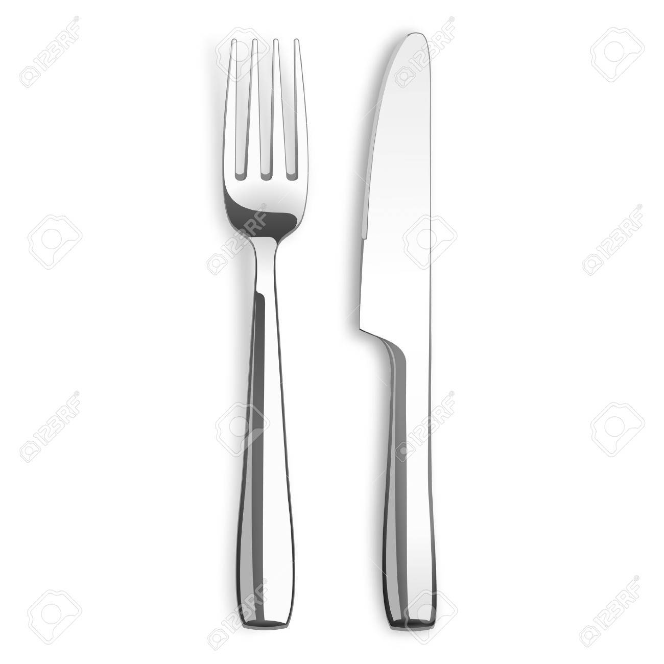 Stainless steel knife and fork on the white background. - 56044725