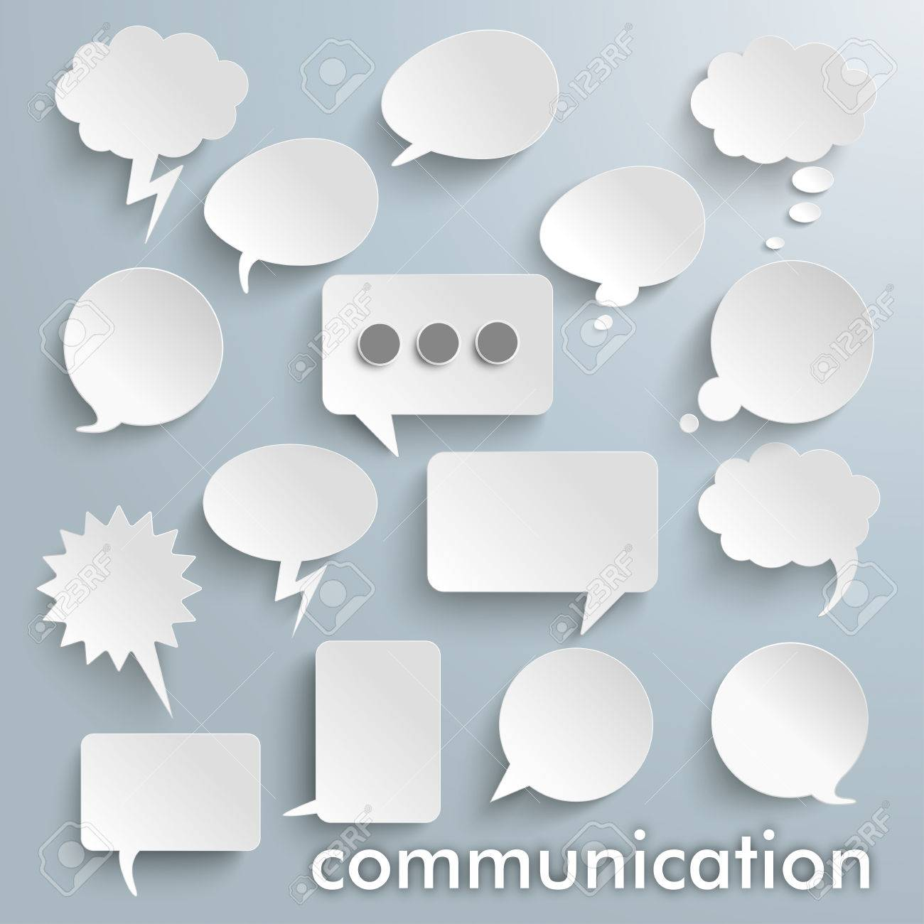 Communication bubbles set on the gray background. vector file. - 57652542