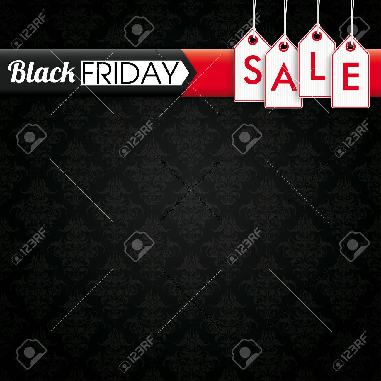 Black Friday banner with price stickers on the black background with ornaments. vector file. - 64203183