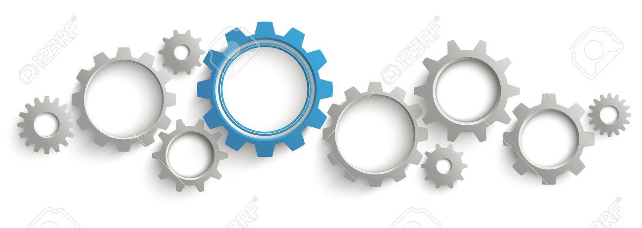 Infographic header with gray and blue gears on the white background. Eps 10 vector file. - 65219056