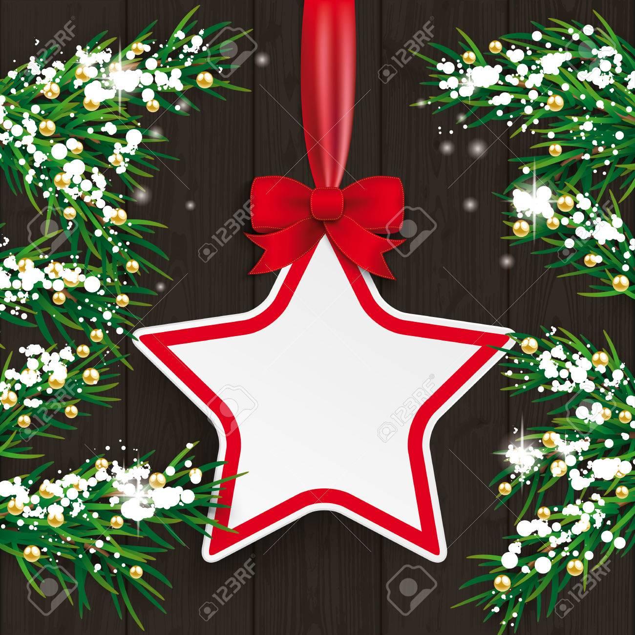 Prix Sapin De Noel.Brindilles De Sapin De Noël Avec étiquette De Prix Et De Neige Sur Le Fond En Bois Eps 10 Fichier Vectoriel