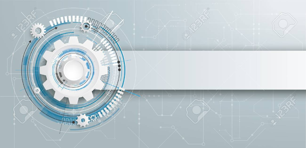Futuristic gear wheel with electronic schematicon and banner on the gray background. Eps 10 vector file. - 65222536