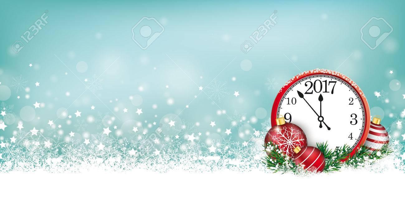 Christmas Header.Cyan Christmas Header With Snow Clock And Stars On The Bokeh