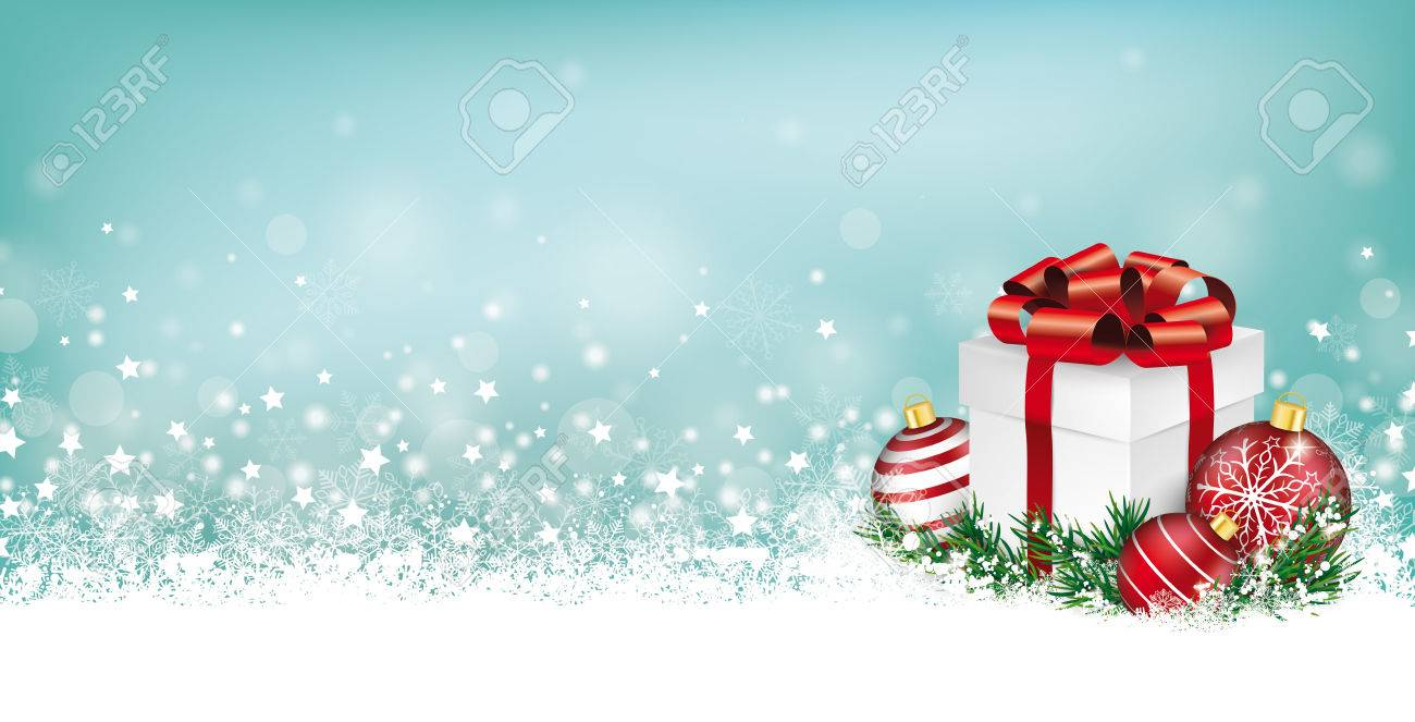 Christmas Header.Cyan Christmas Header With Snow Gift Baubles And Stars On The