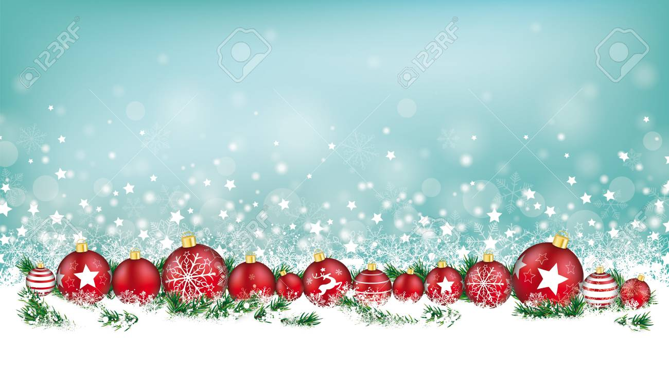 Christmas Header.Cyan Christmas Header With Snow Red Baubles And Gifts On The