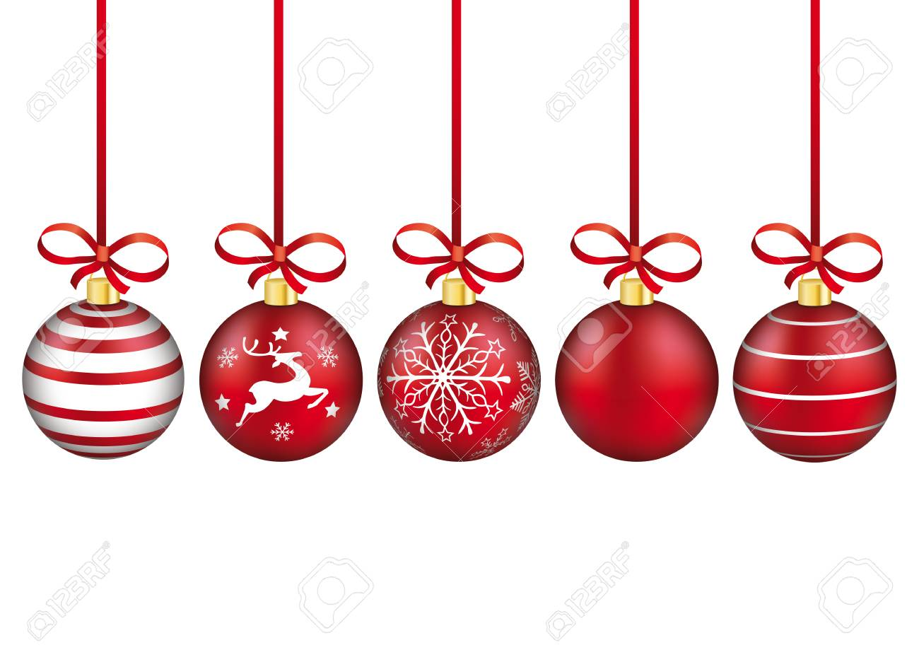 Christmas Baubles.5 Red Christmas Baubles With Red Ribbons On The White Background