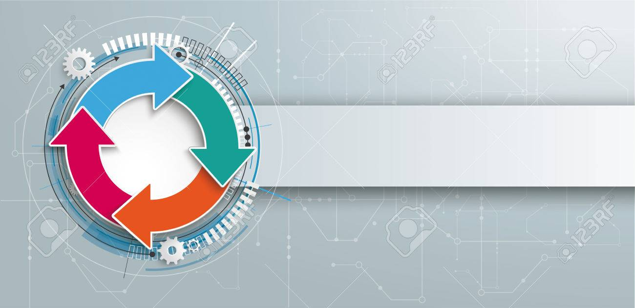 Futuristic Ring Cycle With The Electronic Schematic On And Banner Gray Background Vector