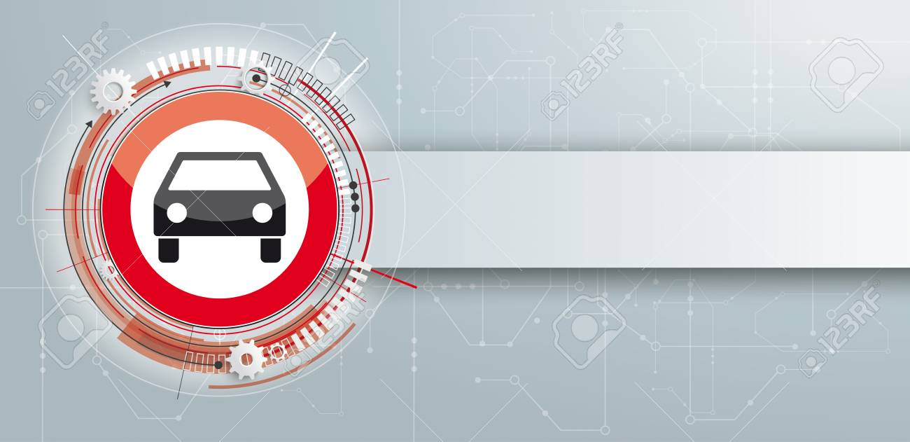 Car Stop Sign With Banner And Circuit Diagram. Royalty Free Cliparts ...