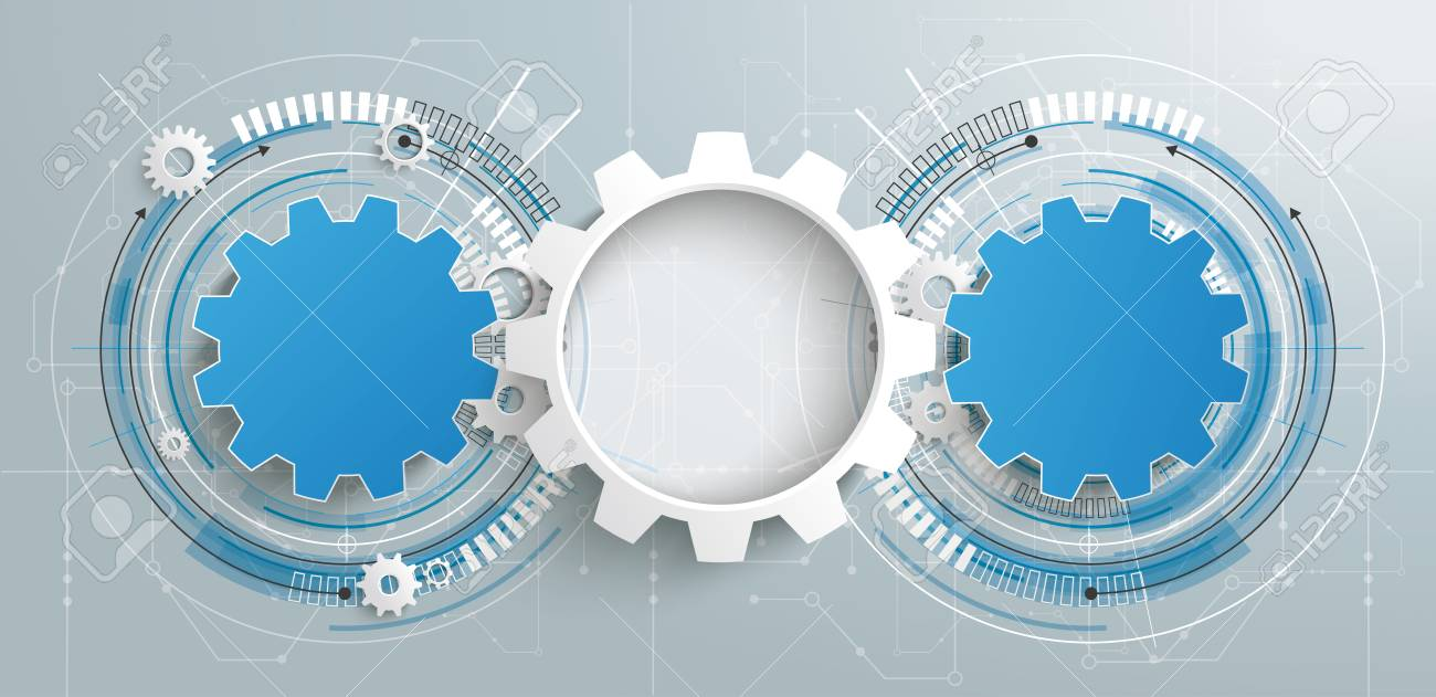 3 Gear Wheels With Circuit Diagram. Eps 10 Vector File. Royalty Free ...