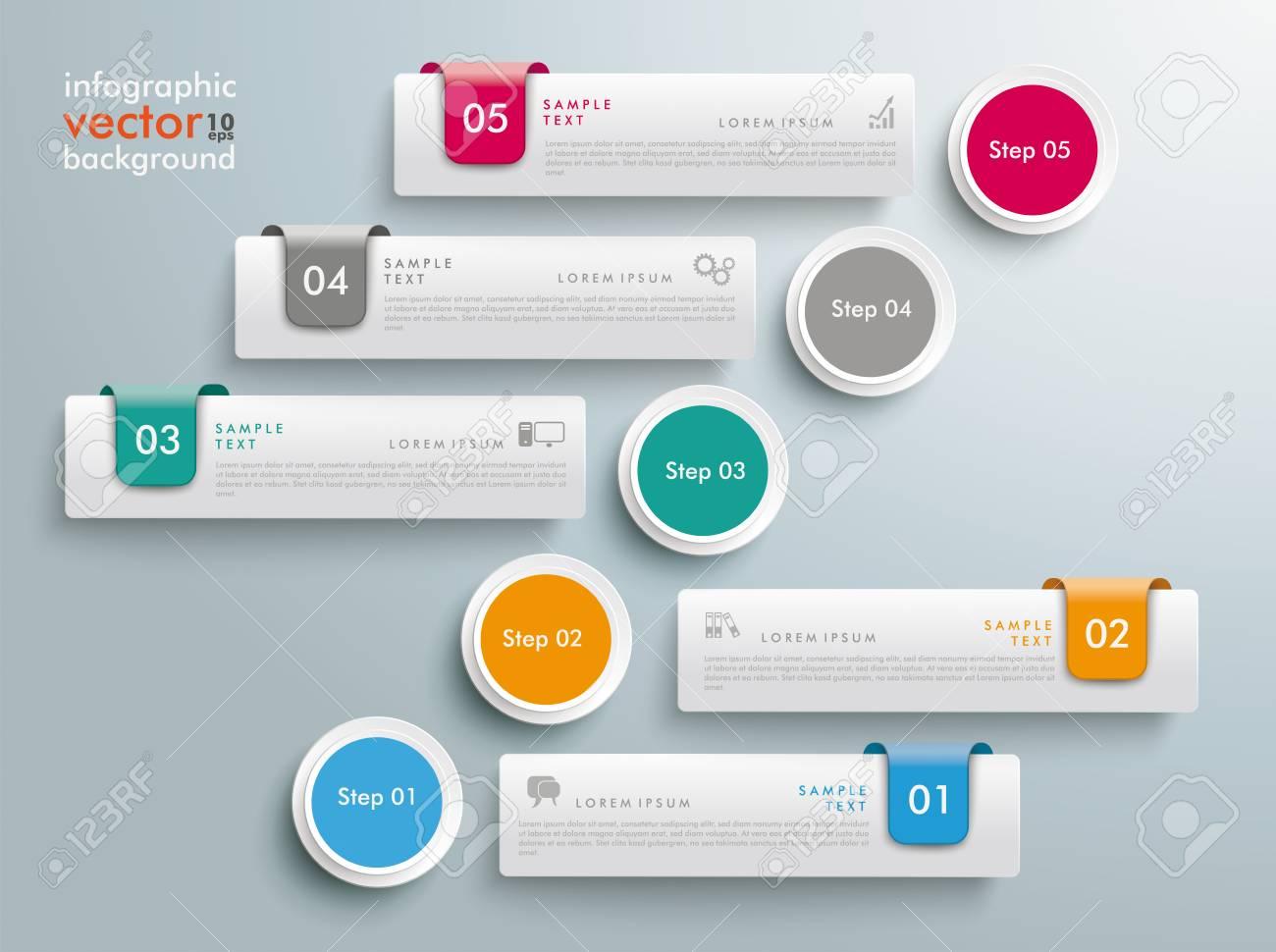 Diseño Infográfico Con 5 Pestañas En El Fondo Gris. Archivo De ...