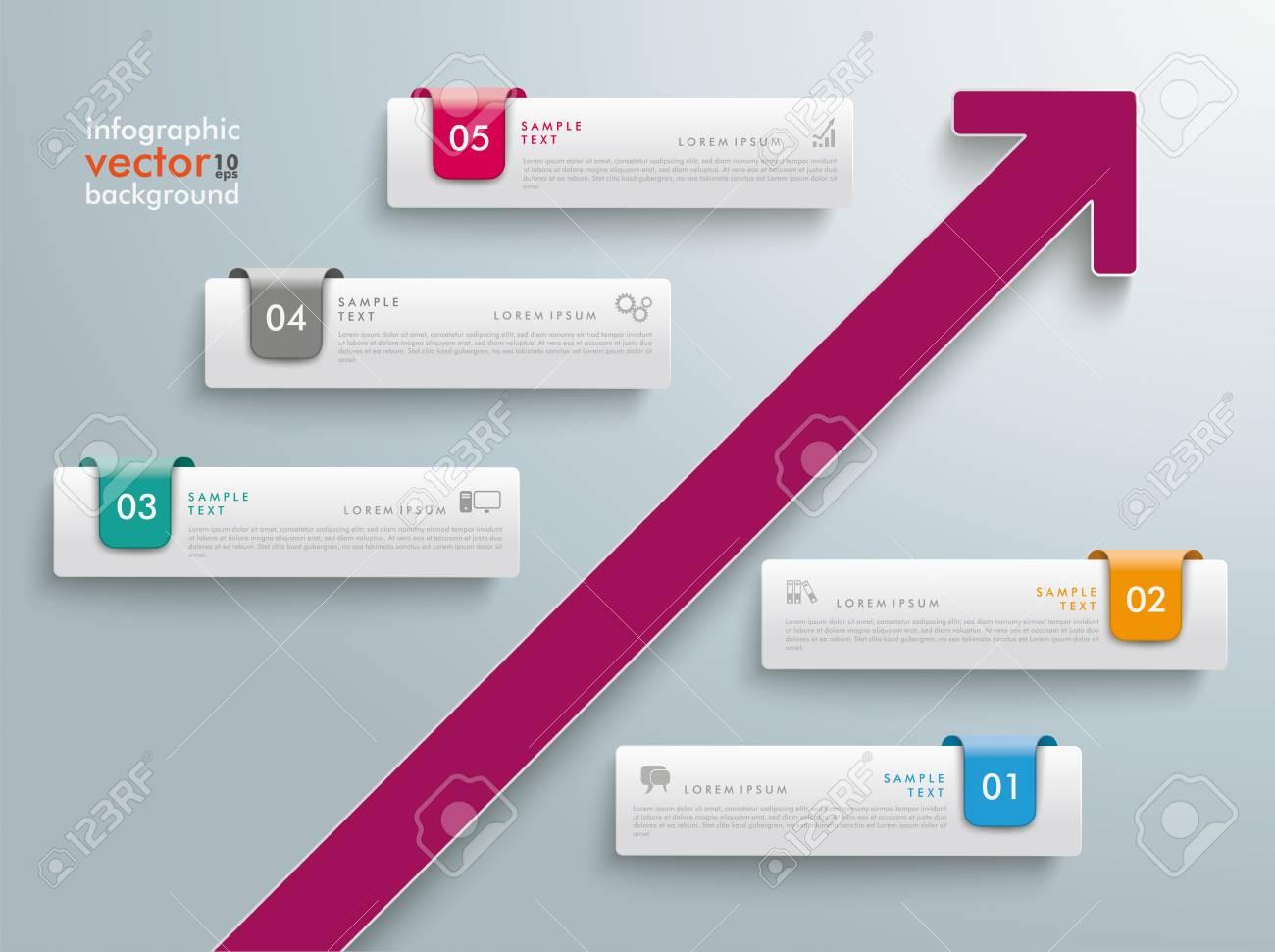 Diseño Infográfico Con 5 Pestañas Y Flecha Morada Sobre Fondo Gris ...