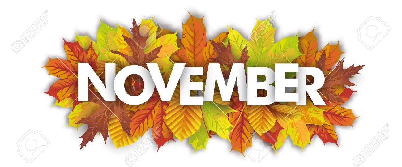 本文 11 月 白地に紅葉 のイラスト素材 ベクタ Image