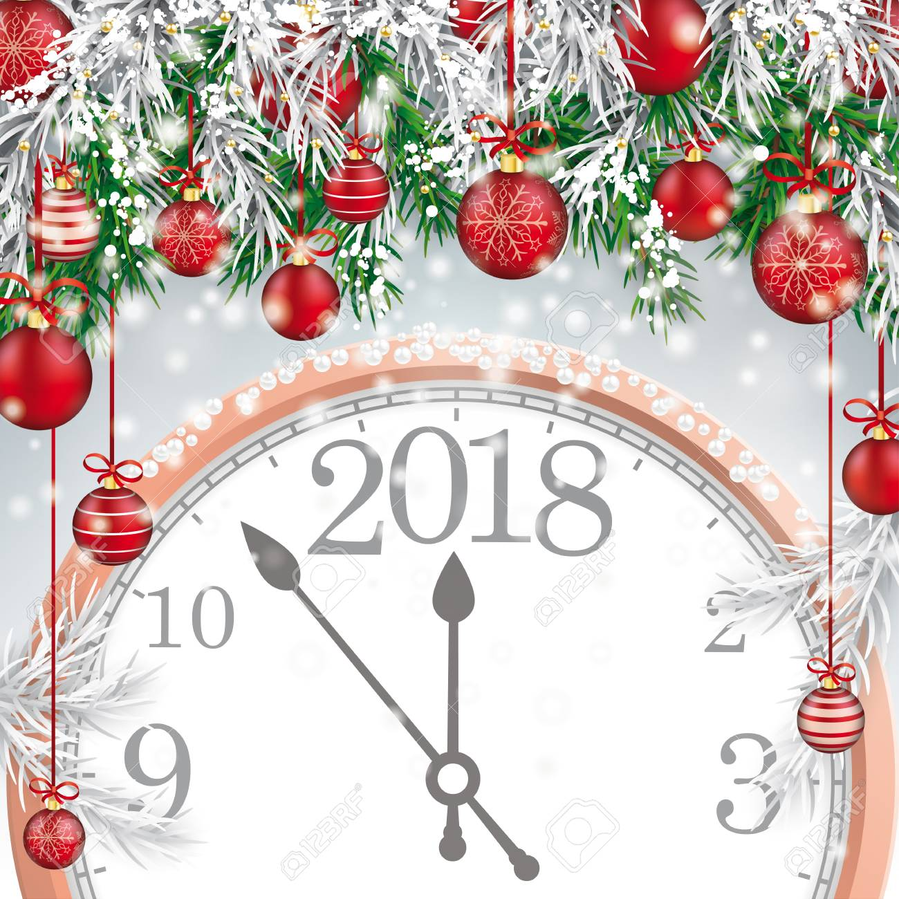 Christmas Card With With Snow, Red Baubles And Clock 2018. Eps ...