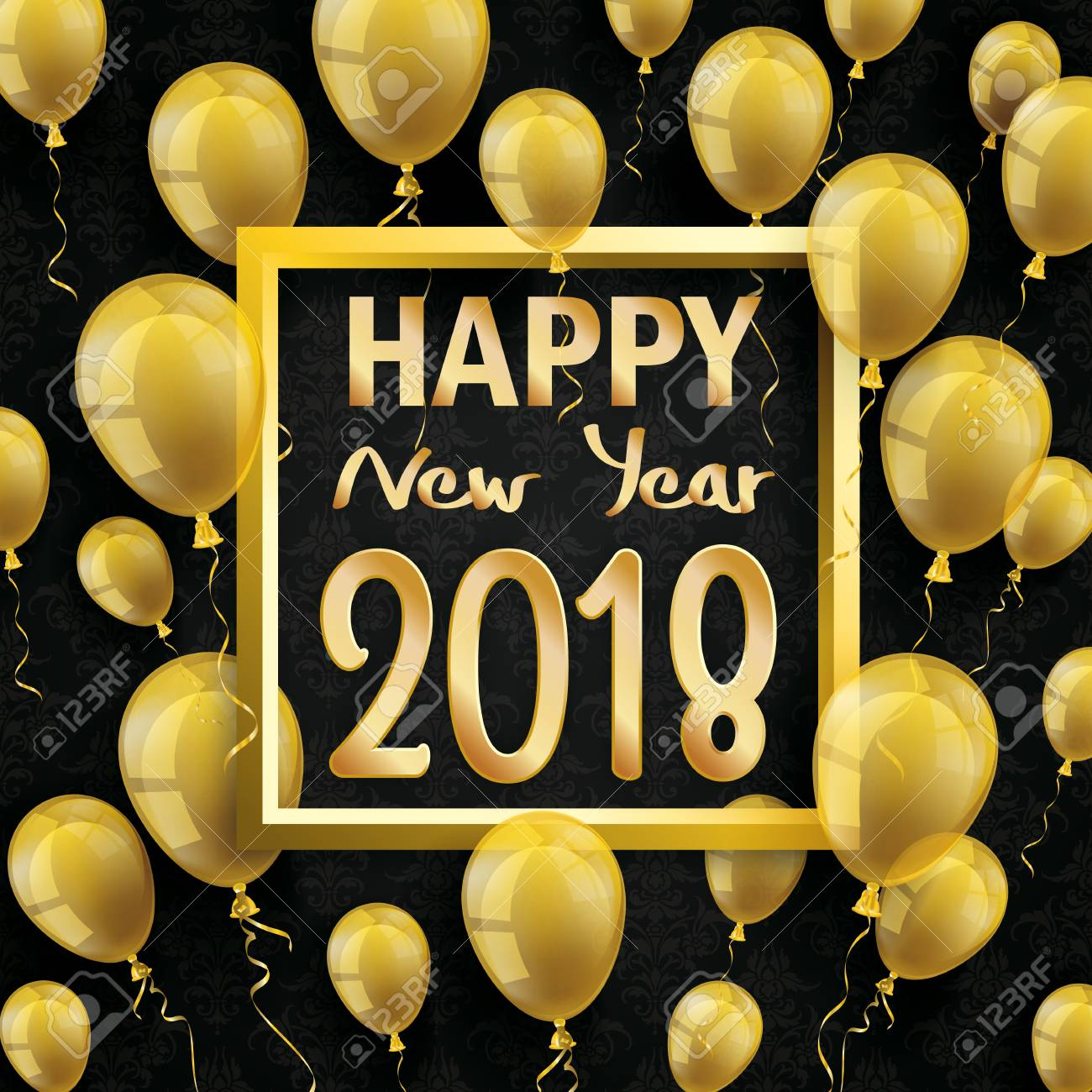golden balloons with golden frame and text happy new year 2018 on the black wallpaper