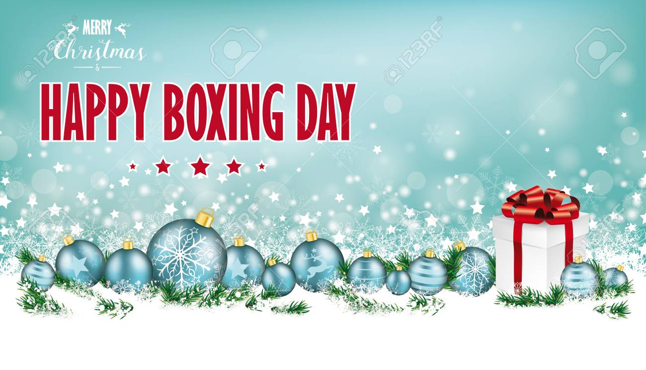 Cyan Christmas Header With Snow, Cyan Baubles And Gift On The ...