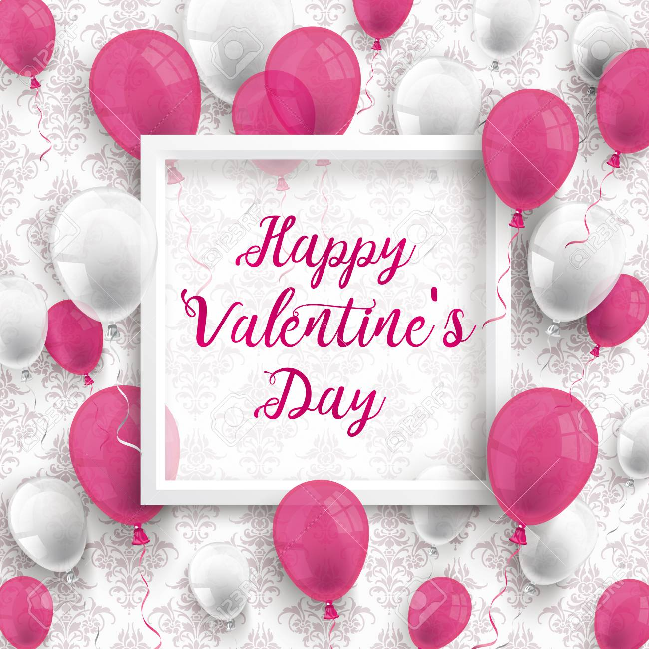 White And Pink Balloons With Frame And Text Happy Valentines
