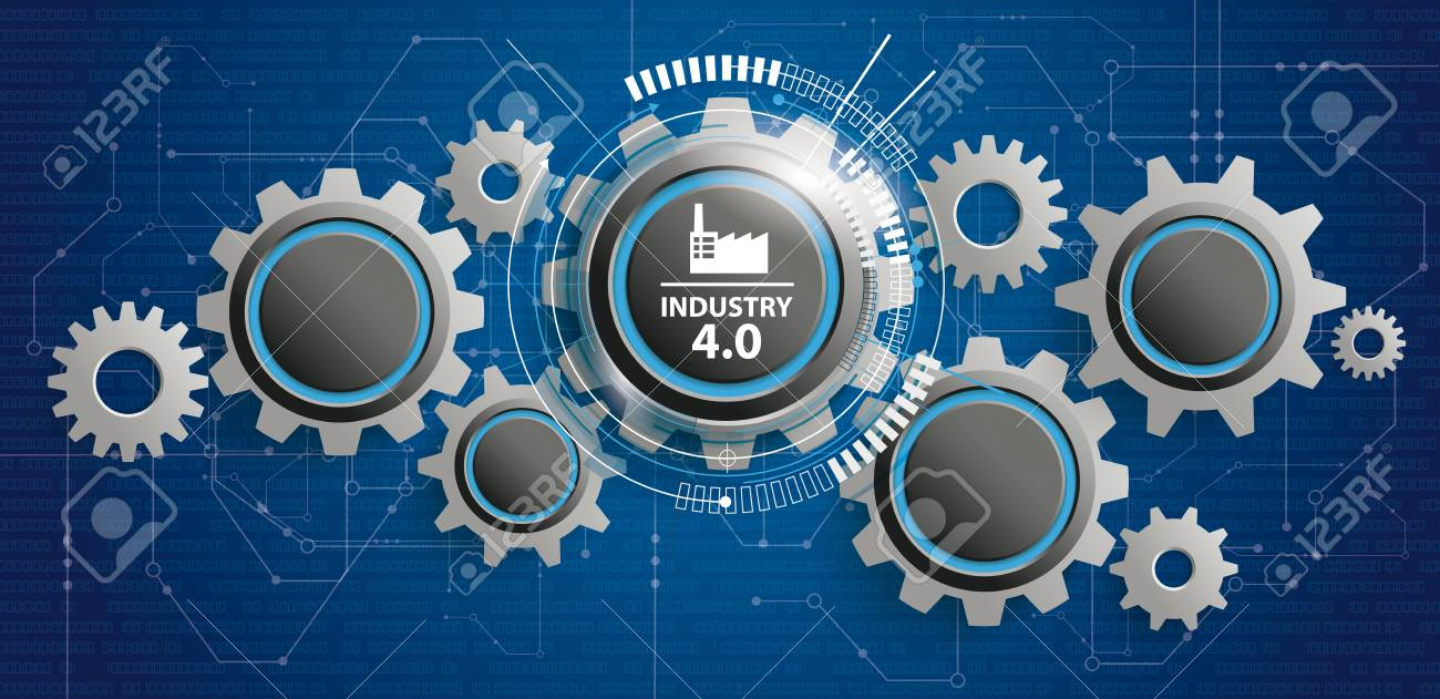 Futuristic gear wheels with the text Industry 4.0. Eps 10 vector file. - 97220774