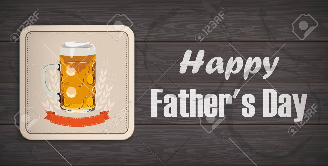Beer Coaster With The Text Happy Fathers Day Eps 10 Vector