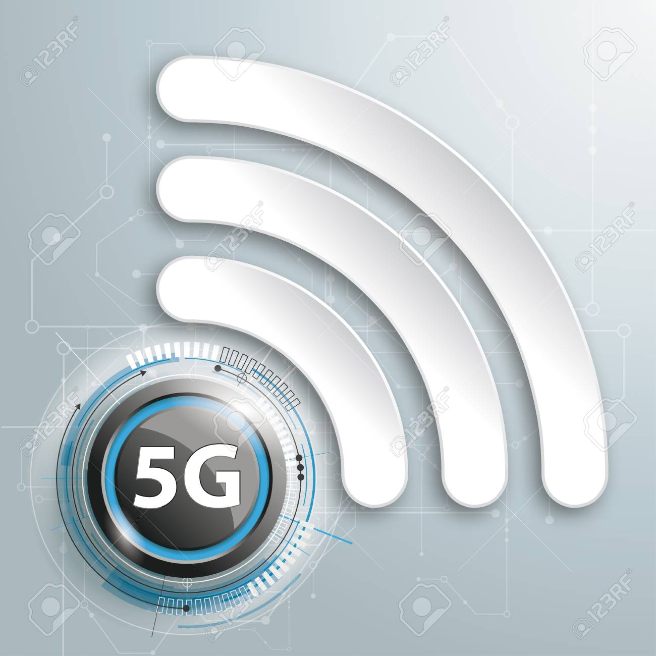 Infographic design with WiFi-Symbol and text 5G on the gray background. Eps 10 vector file. - 115567065