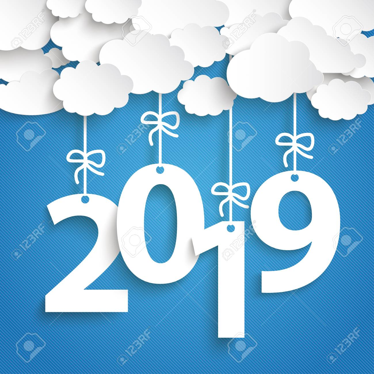 Paper clouds with text 2018 on the blue background. Eps 10 vector file. - 125778439