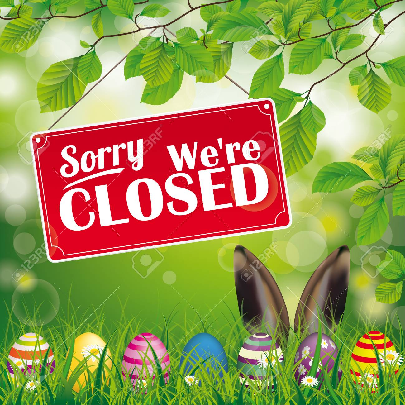 """Easter eggs, with red hanging sign and text """"sorry, we're closed"""". - 118616714"""