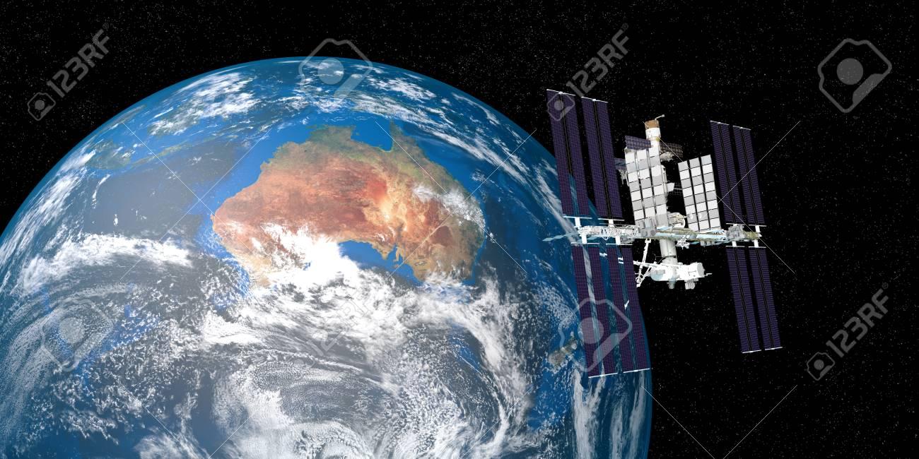 地球を周回する国際宇宙ステーション Iss の非常に詳細かつリアルな高