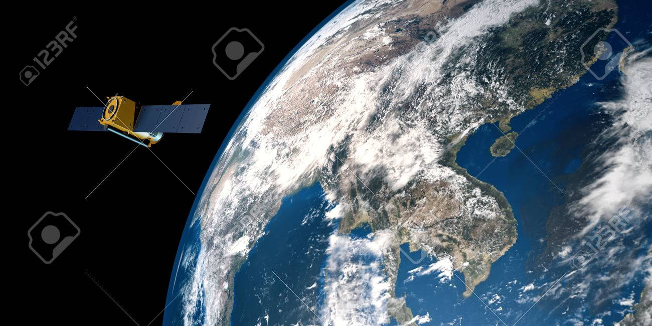 extremely detailed and realistic 3d illustration of a gps satellite