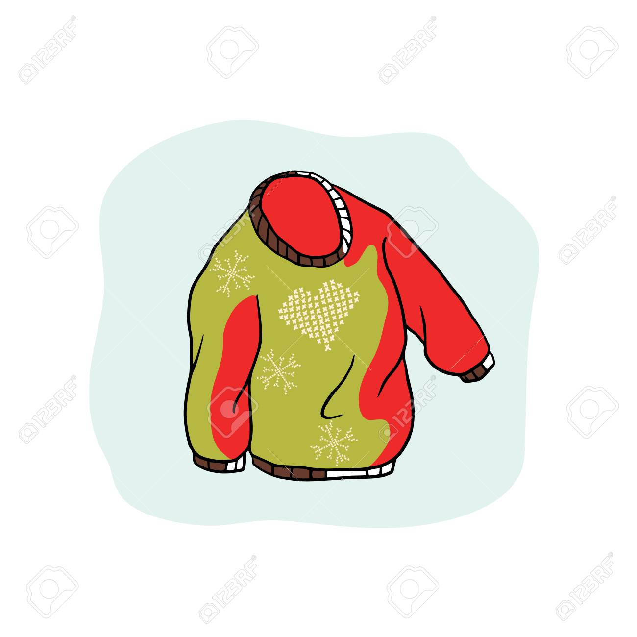 Nordic Christmas Jumper Vector Clipart Hand Drawn Embroidered