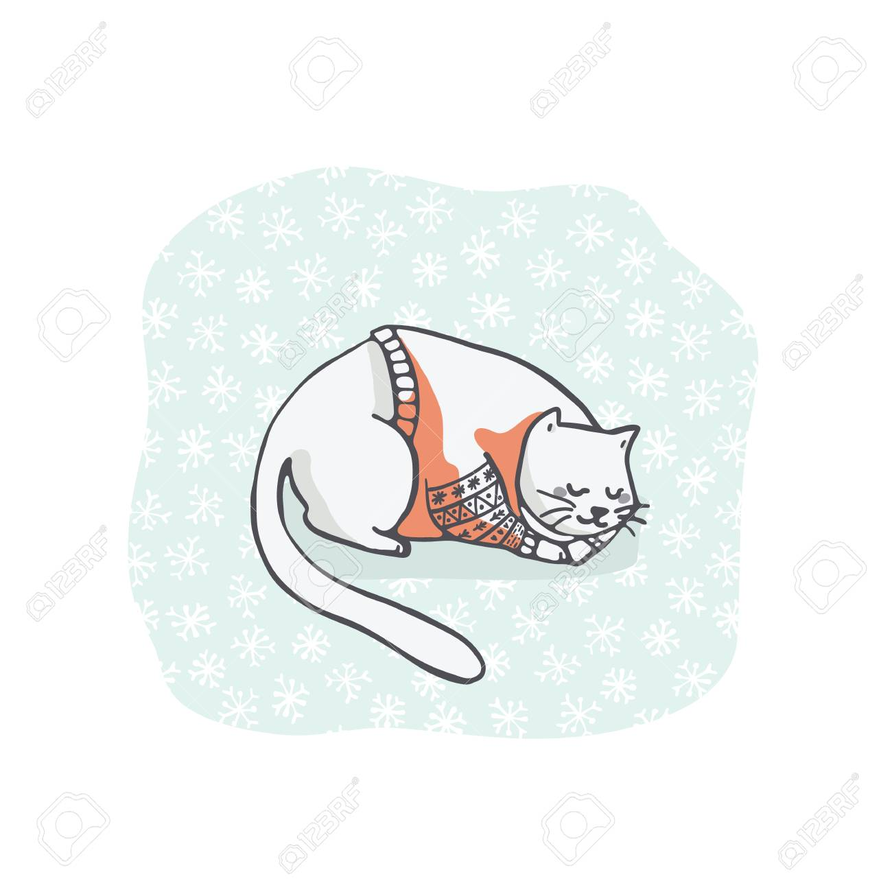 Sleeping Cat Christmas Card Clipart Hand Drawn Embroidery Jumper
