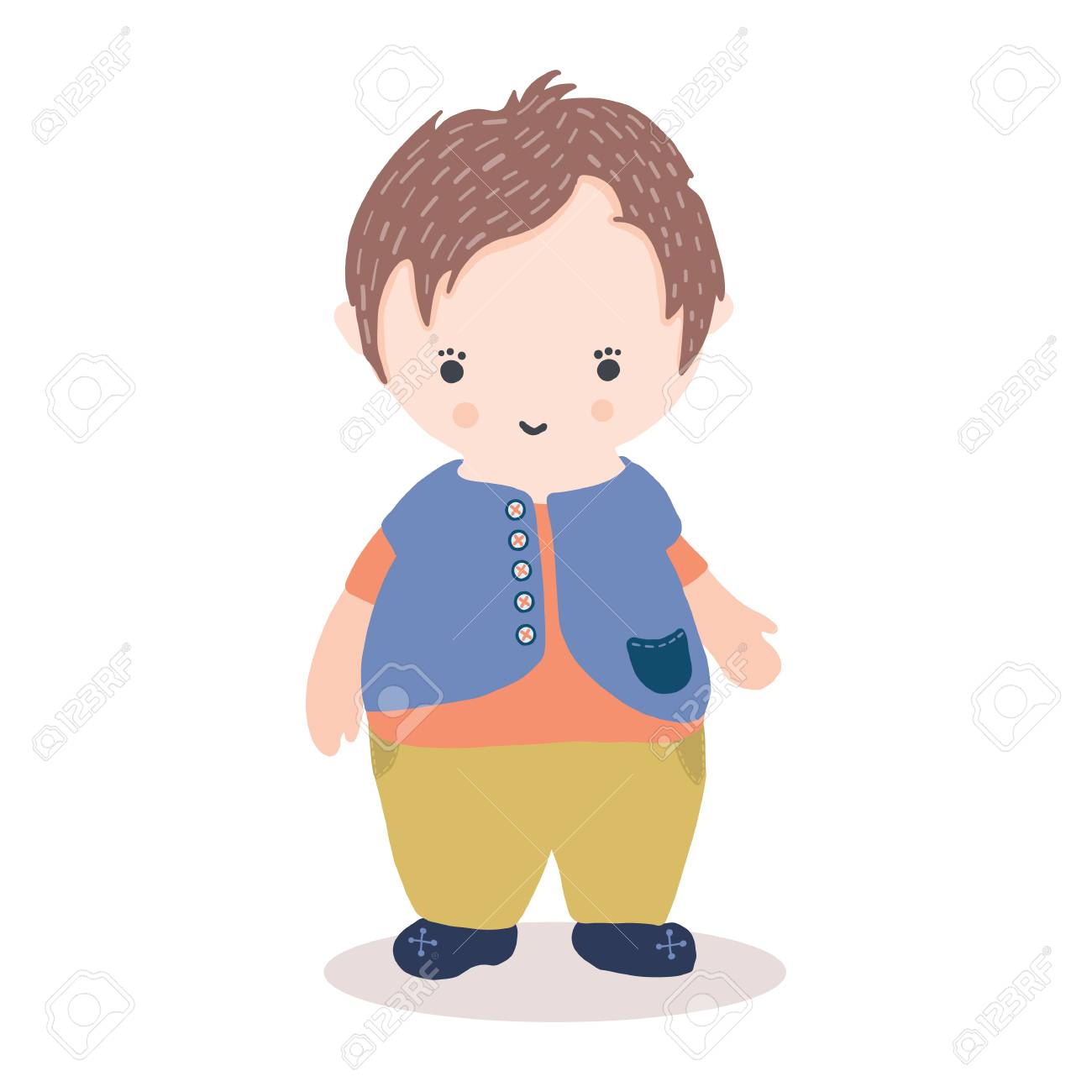 Cute Illustration Of Kawaii Little Boy Character With Waistcoat