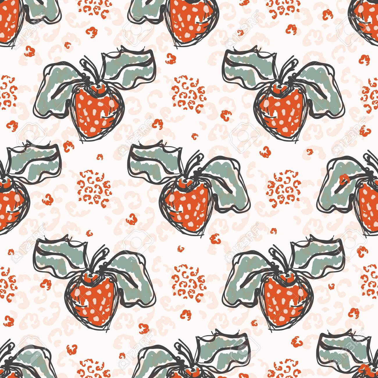 50s Style Strawberries Sketchy Vector Pattern Hand Drawn Stylized Royalty Free Cliparts Vectors And Stock Illustration Image 124484188