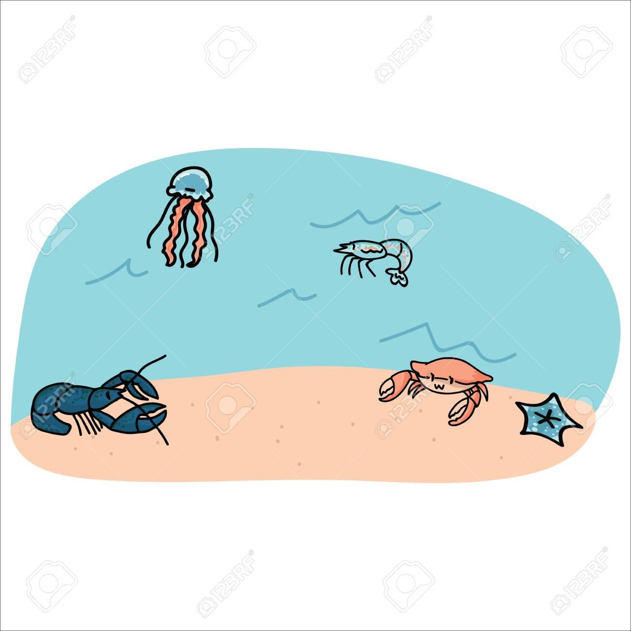 Cute Marine Animals On Ocean Floor Cartoon Vector Illustration
