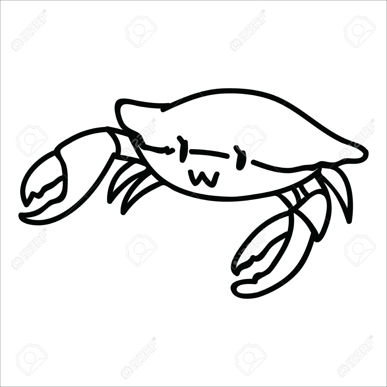 Cute Fresh Crab Lineart Cartoon Vector Illustration Motif Set Royalty Free Cliparts Vectors And Stock Illustration Image 124511895