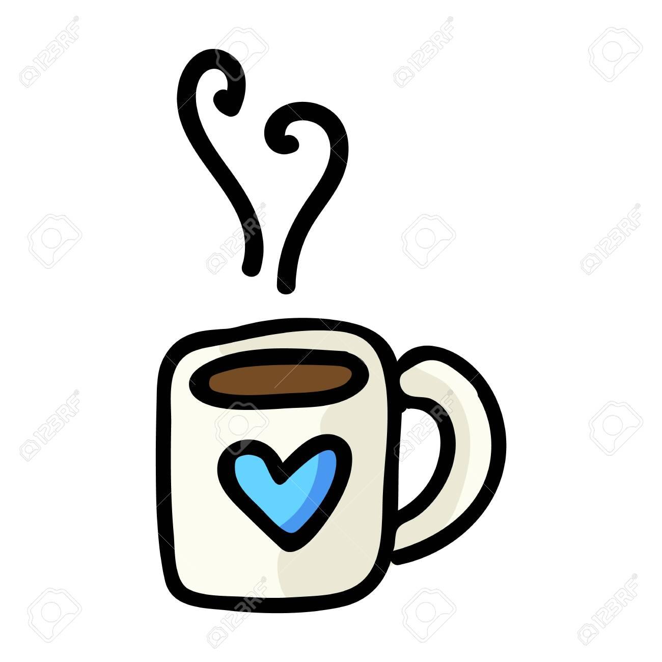 Cute Tea Mug Cartoon Vector Illustration Hand Drawn Hot Drink Royalty Free Cliparts Vectors And Stock Illustration Image 135525073