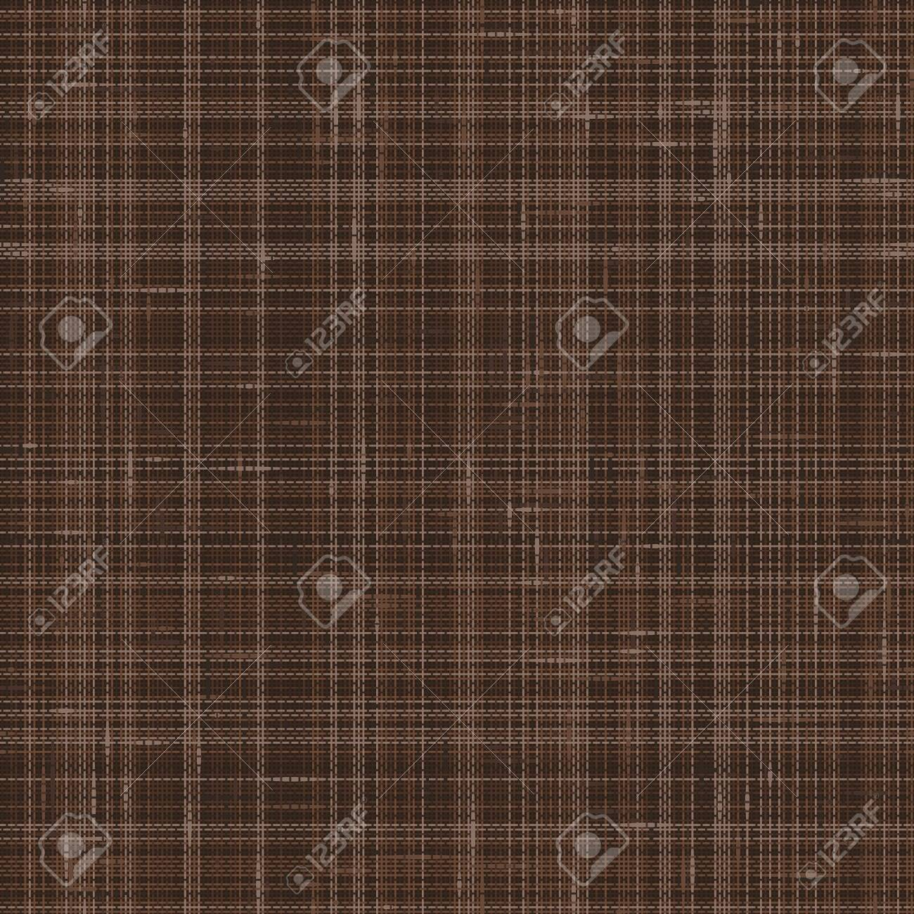 Dark Brown French Linen Texture Background. Variegated Flax Fibre Seamless Pattern. Organic Yarn Close Up Weave Faux Fabric for Wallpaper, Sack Cloth Packaging, Canvas. Vector EPS10 . - 135743545