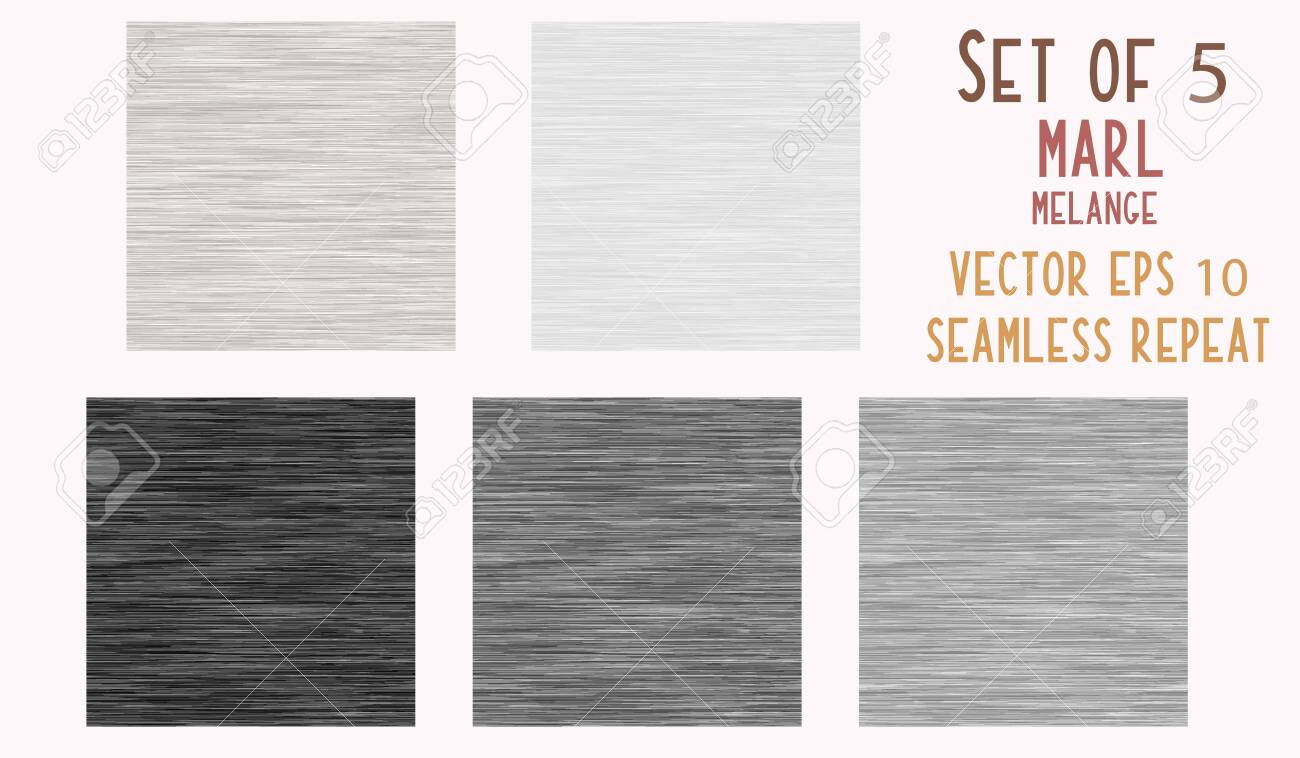 Gray Marl Heather Texture Background. Faux Cotton Fabric with Vertical T Shirt Style. Vector Pattern Design. Grey, Black, White Melange Triblend for Textile Effect. Vector EPS 10. - 137041233