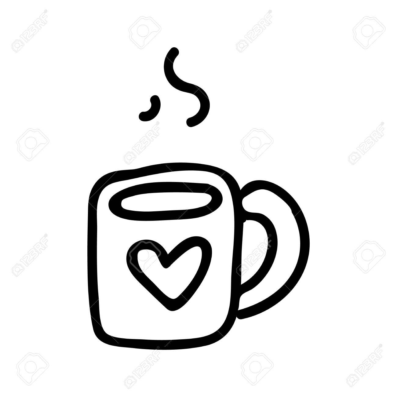 Cute Tea Mug Lineart Cartoon Vector Illustration Hand Drawn Royalty Free Cliparts Vectors And Stock Illustration Image 144445508