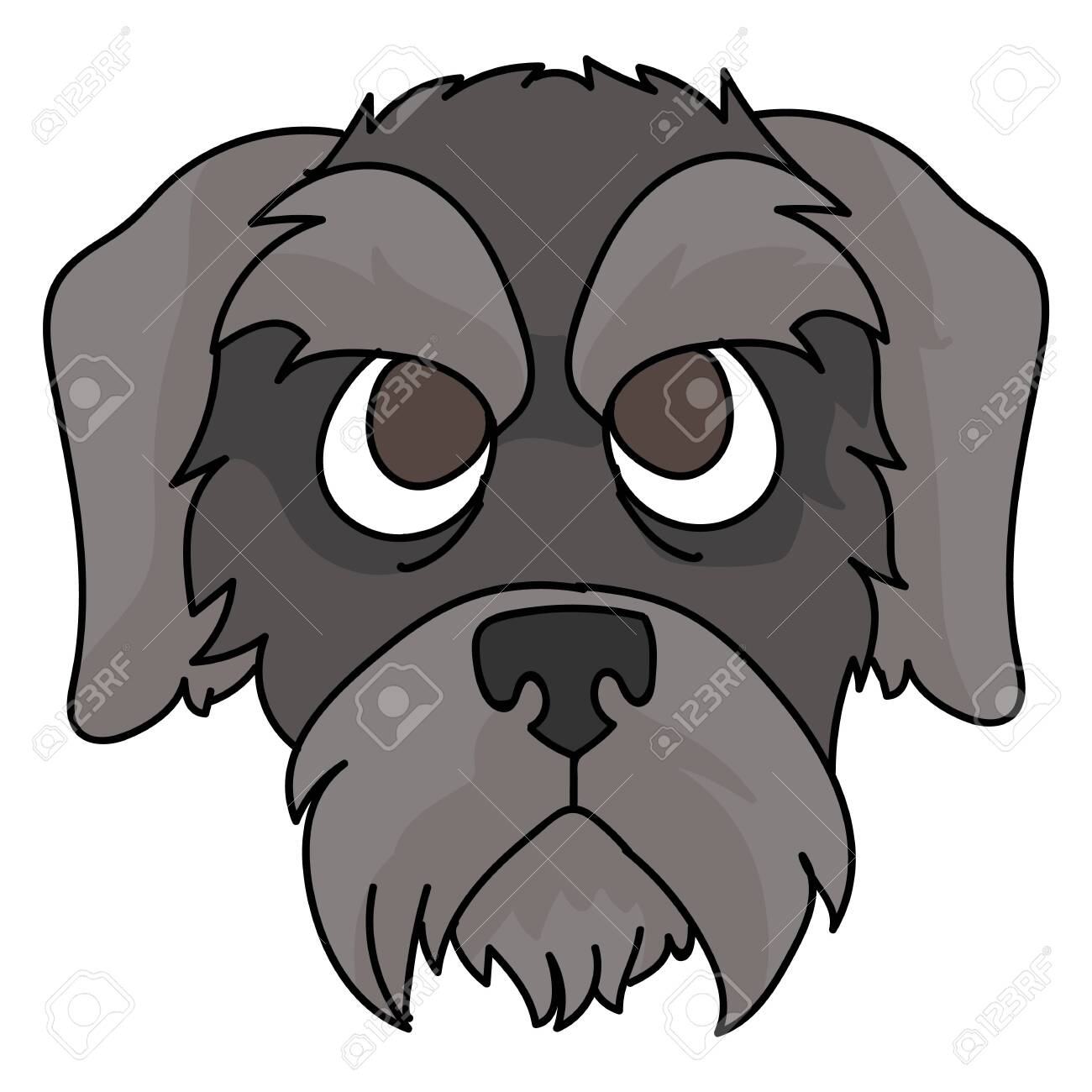Cute Cartoon Schnauzer Puppy Dog Face Clipart Pedigree Kennel Royalty Free Cliparts Vectors And Stock Illustration Image 141294384