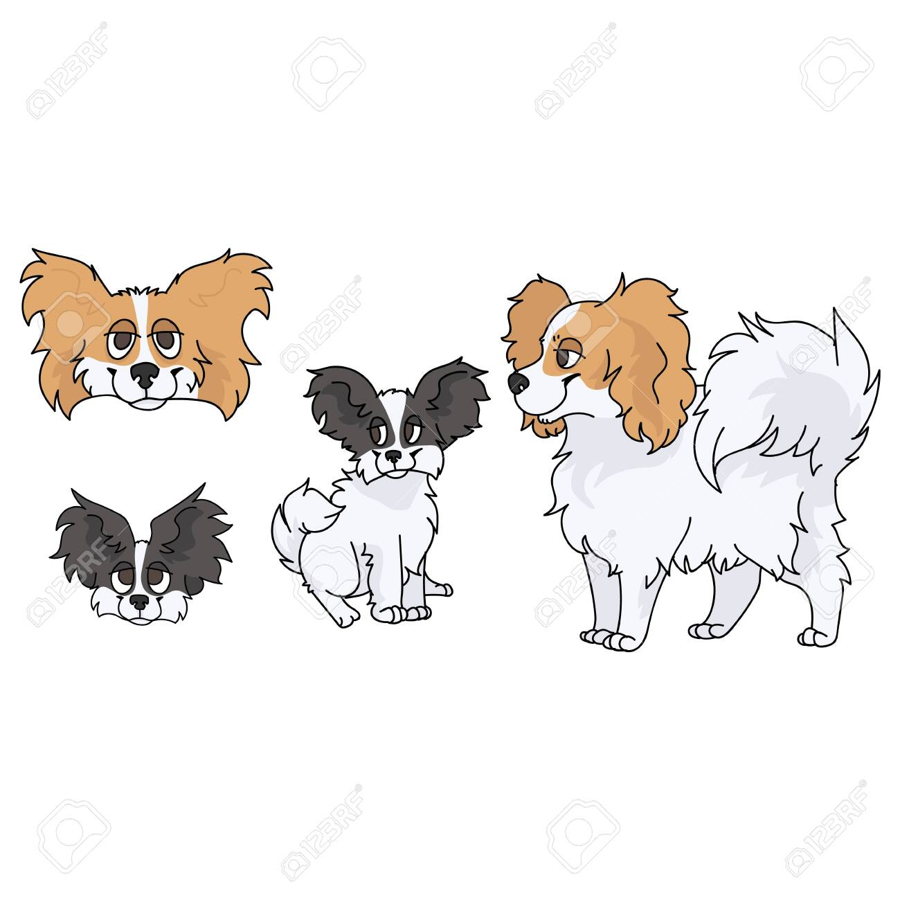 Cute Cartoon Papillon Dog And Puppy Set Breed Vector Clipart Royalty Free Cliparts Vectors And Stock Illustration Image 141977235