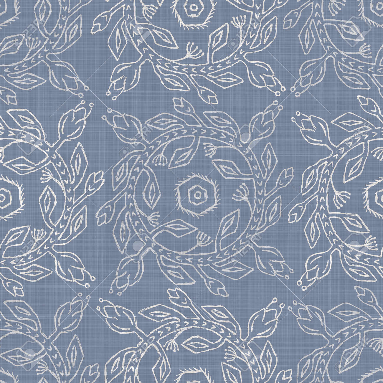 Seamless french farmhouse damask linen pattern. Provence blue white woven texture. Shabby chic style decorative fabric background. Textile rustic all over print - 159343944