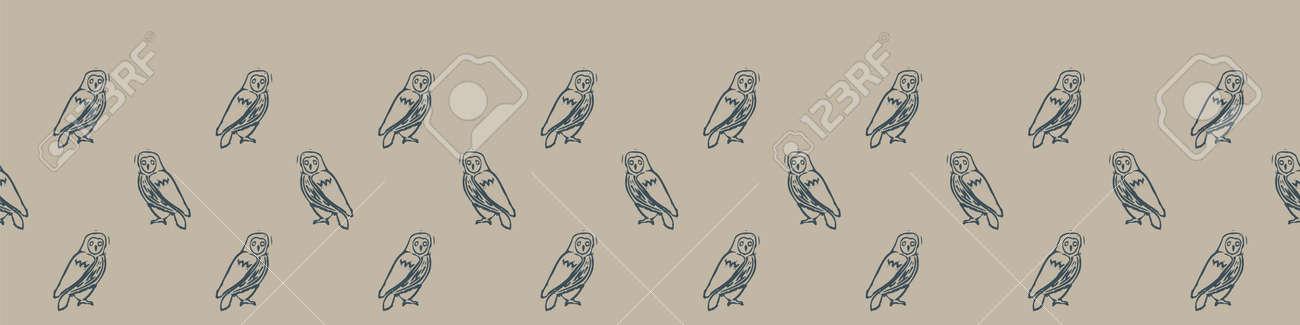 Hand carved owl block print seamless border pattern. Rustic naive folk motif illustration banner. Modern simple heritage style natural lino cut illustration. Ethnic primitive edge bordure. - 166912346