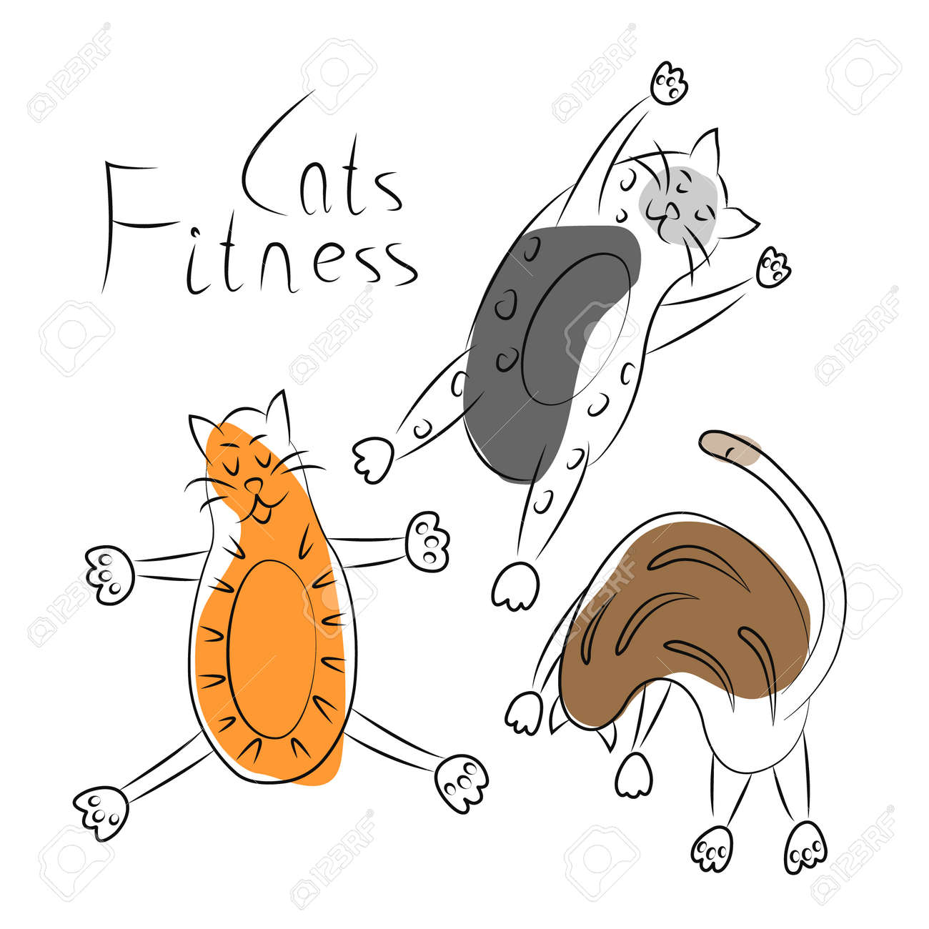 Collection of funny fat cats engaged in sports, fitness, yoga. Simple linear illustration of pets with partial fill. Bright print, logo, emblem, label, badge, icon for vet clinic, children's clothing - 170432709