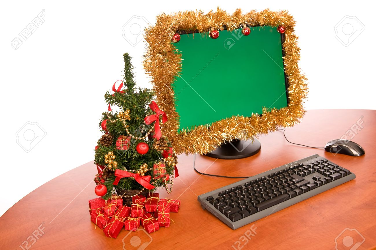office desk with christmas tree on white background stock photo 3959540 christmas tree office desk