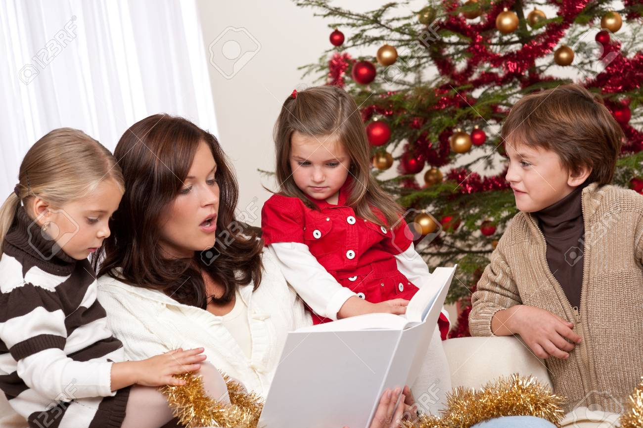 Happy family: mother with three children on Christmas Stock Photo - 5714614