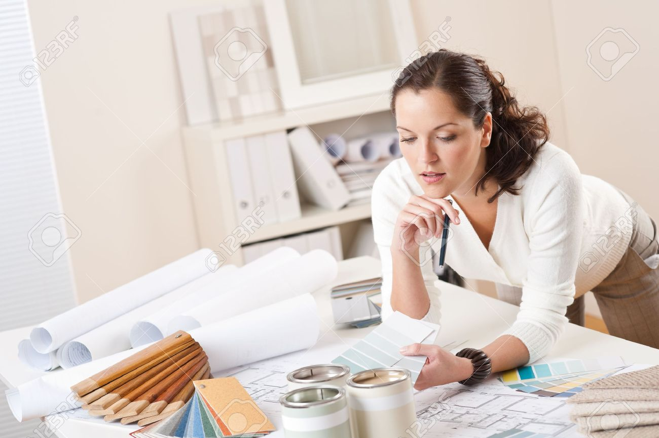 Female Interior Designer Working At Office With Color Swatch And Paint  Stock Photo   5977689 Part 39