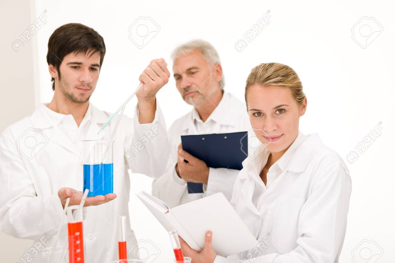 Chemistry experiment -  scientists in laboratory testing flu virus vaccination Stock Photo - 8022851
