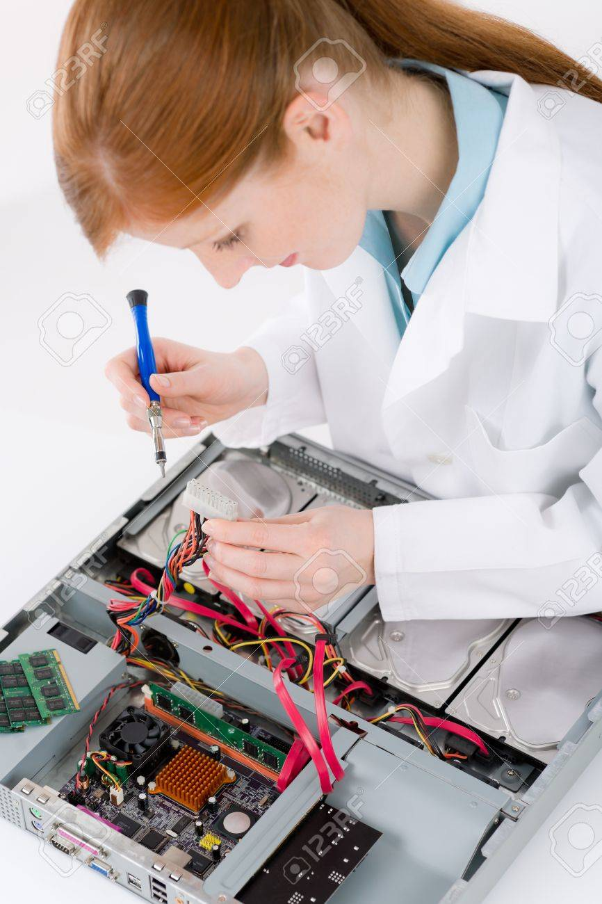 Female support computer engineer - IT woman repair defect Stock Photo - 9060980