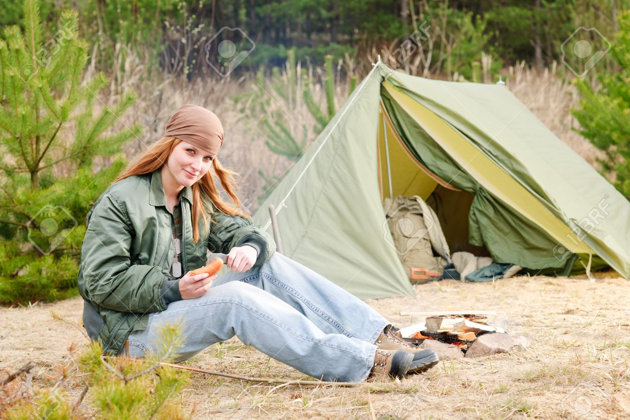 C&ing happy woman nature tent cut sausage by fire Stock Photo - 9300763  sc 1 st  123RF Stock Photos & Camping Happy Woman Nature Tent Cut Sausage By Fire Stock Photo ...
