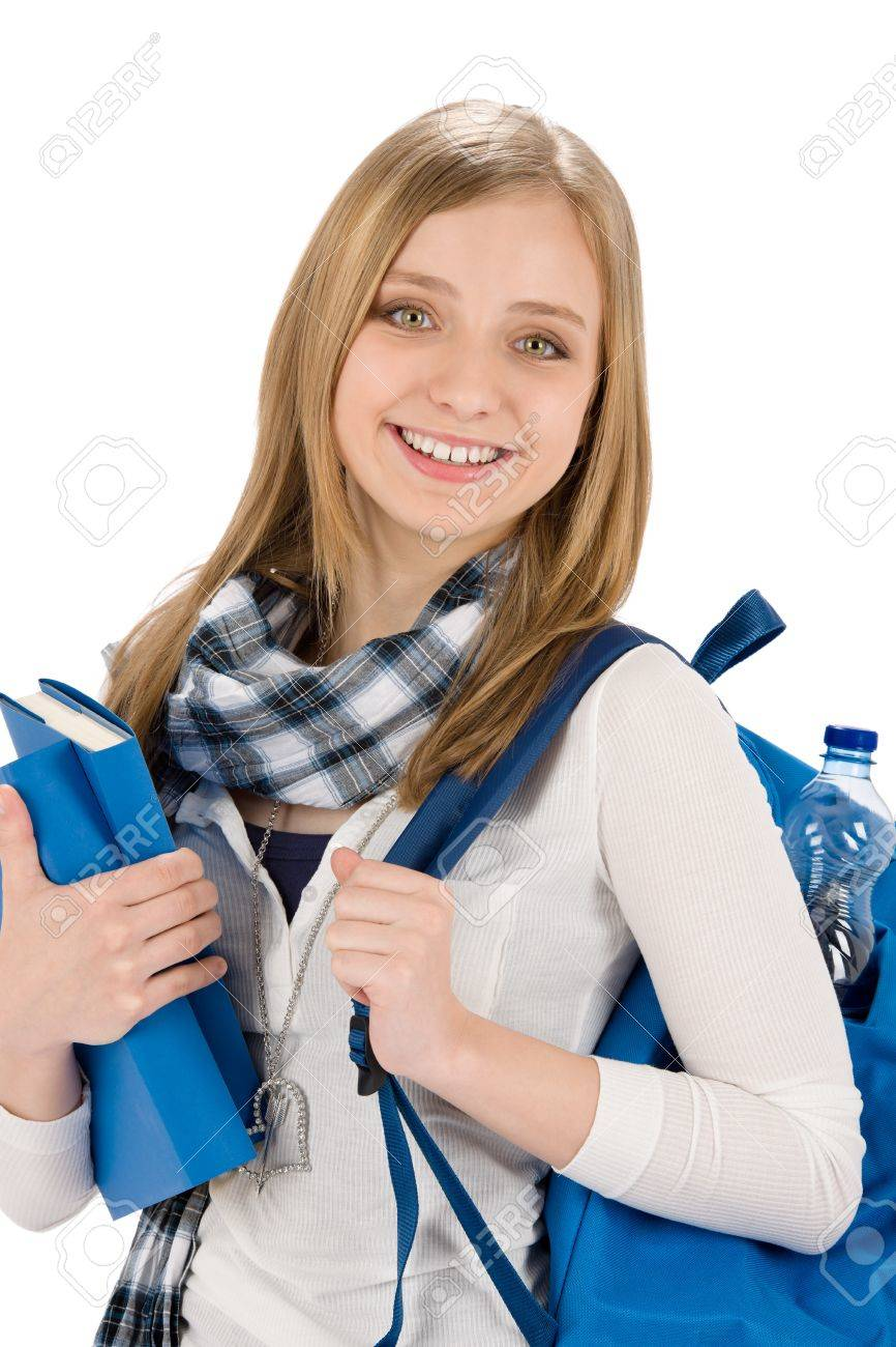 Happy student woman teenager with schoolbag hold books on white Stock Photo - 9527107